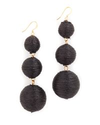 Kenneth Jay Lane | Black 3 Tier Ball Drop Earring | Lyst