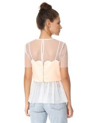 Endless Rose - White Mesh Top With Scallop Bralette Overlay - Lyst
