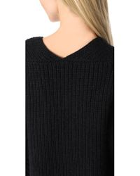 T By Alexander Wang - Black Chunky V Neck Sweater - Lyst