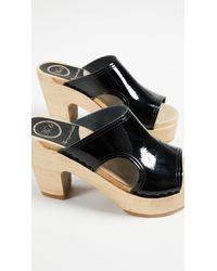 No. 6 - Black Alexis Cutout Platform Slides - Lyst