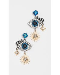 Elizabeth Cole - Blue Hamsa Earrings - Lyst