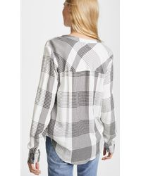Splendid - White Murray Plaid Blouse - Lyst