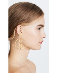 Oscar de la Renta - Metallic Double Beaded Ball Hoop Clip On Earrings - Lyst