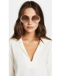 Fendi - Brown Round Pearl Frame Sunglasses - Lyst