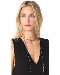 Ela Rae - Metallic Pyrite Coin Lariat Necklace - Lyst