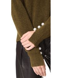 3.1 Phillip Lim - Green Pullover With Imitation Pearl Cuffs - Lyst