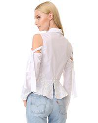 Jonathan Simkhai - White Panel Cording Poplin Cutout Shirt - Lyst