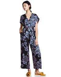Diane von Furstenberg - Black Front Tie Jumpsuit - Lyst