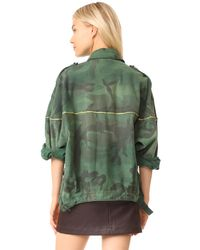 Free People - Green Slouchy Military Jacket - Lyst