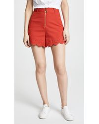 10 Crosby Derek Lam - Red High Waisted Embroidery Shorts - Lyst