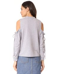 Maven West - Gray Cold Shoulder Top - Lyst