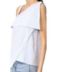 CLU | Blue Asymmetrical Off The Shoulder Top | Lyst