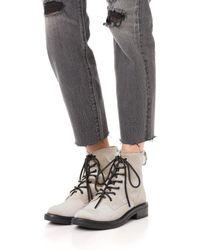 Dolce Vita - Metallic Bardot Velvet Combat Boots - Lyst