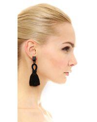 Oscar de la Renta - Black Short Tassel Clip On Earrings - Lyst