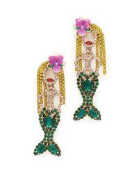 Elizabeth Cole | Green Mermaid Earrings | Lyst