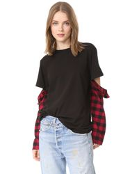 CLU | Black Too Mix Media Open Sleeve Top | Lyst
