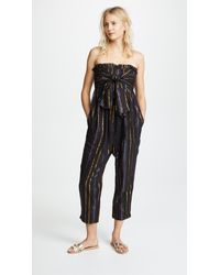 3b8a4c0e074 Lyst - Apiece Apart Strapless Striped Jumpsuit in Black