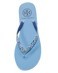 Tory Burch - Blue Thin Flip Flops - Lyst