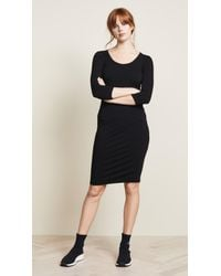 James Perse - Black 3/4 Sleeve Fitted Dress - Lyst