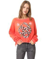 Wildfox - Red Snake Charmer Monte Crop Sweatshirt - Lyst