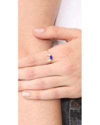 Sydney Evan - Metallic Small Pave Inverted Crescent Ring - Lyst