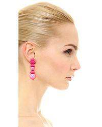 Oscar de la Renta - Pink Beaded Cap Imitation Pearl Earrings - Lyst