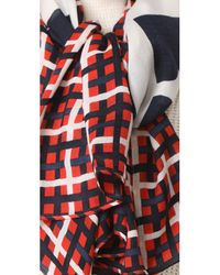 Tory Burch | Red Princess Plaid Scarf | Lyst