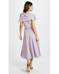 Zac Posen - Purple Ruffle Sleeve Dress - Lyst