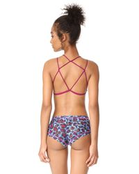 Free People - Pink High Neck Strappy Bra - Lyst