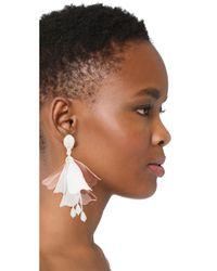 Oscar de la Renta - White Impatens Clip On Earrings - Lyst