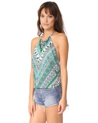 Ramy Brook - Blue Capri Herringbone Printed Pixie Blouse - Lyst