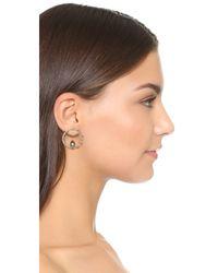 Alexis Bittar - Metallic Crystal Encrusted Hoop Earrings - Lyst