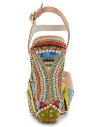 Alice + Olivia | Multicolor Laura Wedge Sandals | Lyst