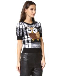 Alice + Olivia - Black Katherine Owl Pullover Sweater - Lyst