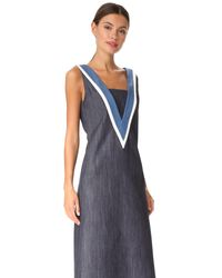 Adam Lippes - Blue V Neck Dress - Lyst