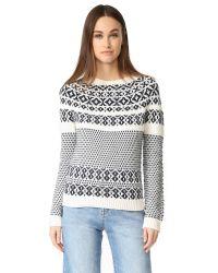 A.P.C. | White & Navy Romy Après-ski Sweater | Lyst