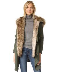 BB Dakota | Green Gerrard Coat With Faux Fur | Lyst