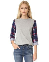 CLU - Gray Too Contrast Sleeve Top - Lyst