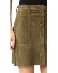 Current/Elliott - Green The Suede Naval Skirt - Lyst