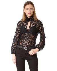 Cynthia Rowley | Black Lace Top | Lyst