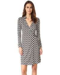 Diane von Furstenberg | White 'new Jeanne Two' Print Silk Wrap Dress | Lyst