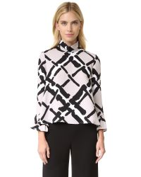 Derek Lam - Multicolor Fold Over Collar Blouse - Lyst