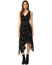 DKNY | Black V Neck Dress With Ribbed Inserts | Lyst