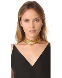 Elizabeth Cole - Multicolor Golden Choker Necklace - Lyst