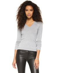 525 America - Gray Low V Neck Sweater - Lyst