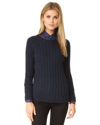525 America | Blue Panel Rib Crew Neck Sweater | Lyst