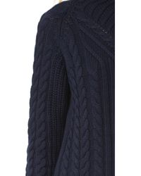 525 America - Blue Mock Neck Cable Sweater - Lyst