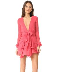 For Love & Lemons | Pink Tarta Long Sleeve Mini Dress | Lyst