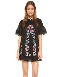 Free People   Black Perfectly Victorian Embroidered Mini Dress   Lyst