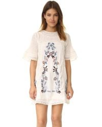 Free People | Natural Perfectly Victorian Embroidered Mini Dress | Lyst